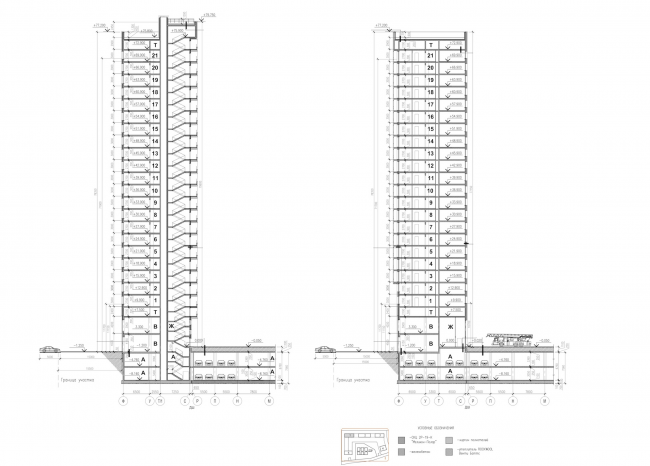 Multiapartment buildings on the Komendantsky Prospect. Section views. Project, 2015 © Evgeny Gerasimov and Partners
