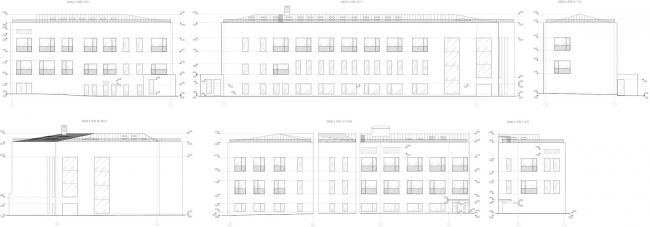 Реконструкция здания бывшей фабрики-кухни на ул. Новокузнецкая. Фасады © Kleinewelt Architekten