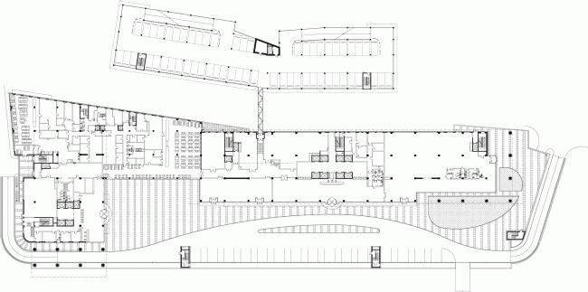 План на уровне 1 этажа. Административно-деловой центр на Рублево-Успенском шоссе © Сергей Киселёв и Партнеры.