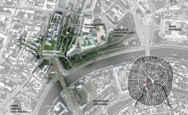 Проект реконструкции Боровицкой площади школы AFF. Ситуационный план. Проект, 2014 © Школа AFF