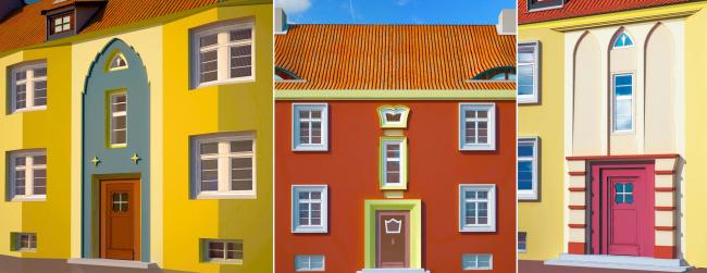 Сблокированные дома «Пёстрого ряда». Типы лестничных порталов. Изображение предоставлено издательством «БуксМарт»