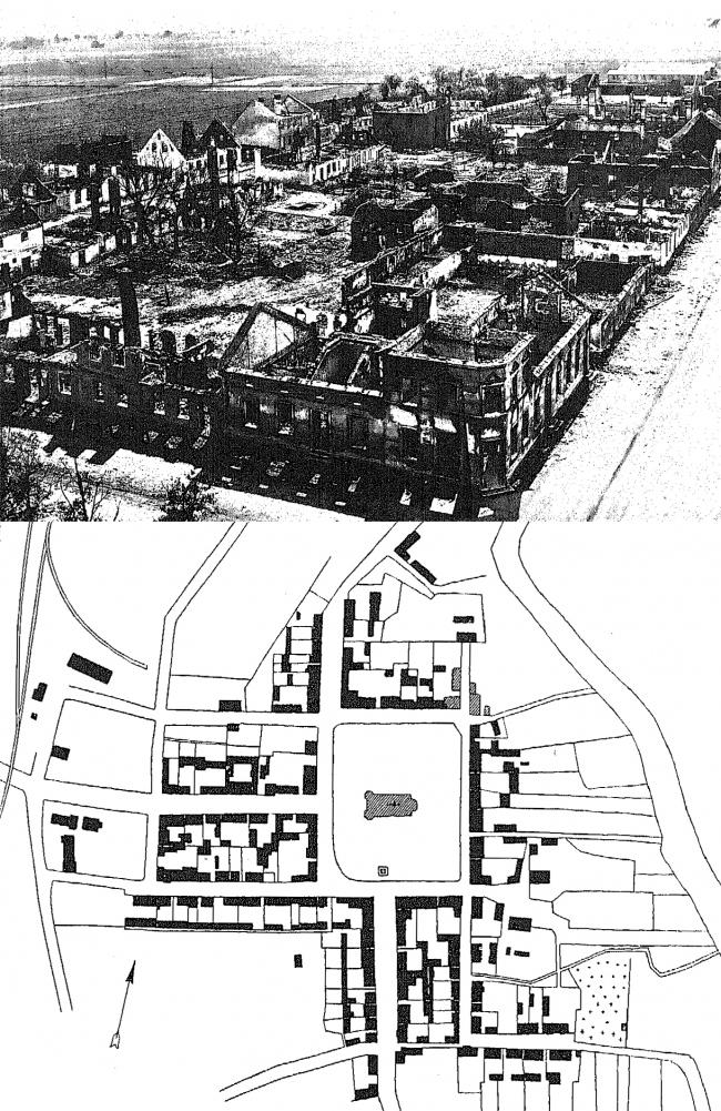 Городок Ширвиндт, заштрихованы порушенные постройки, залиты чёрным – разрушенные полностью. Изображение предоставлено издательством «БуксМарт»