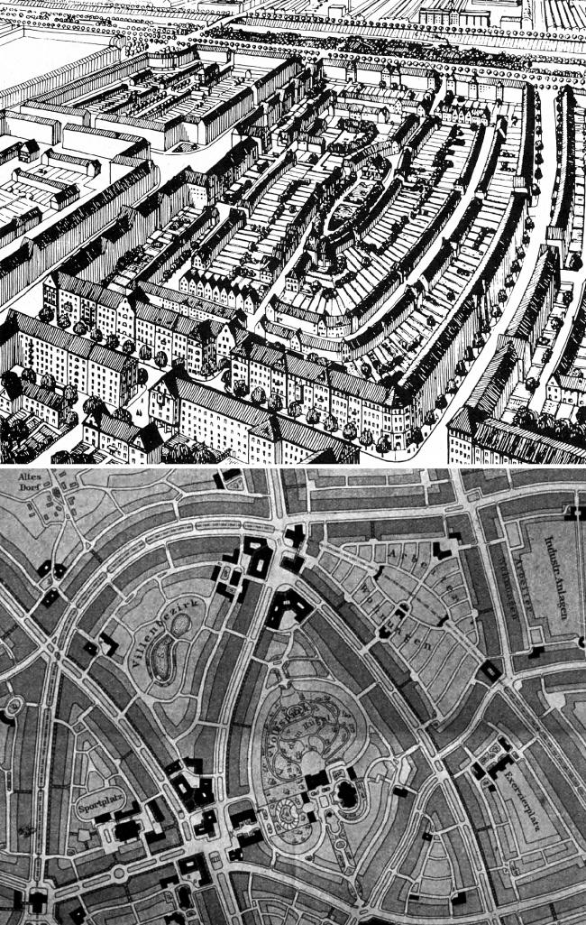 Идеальные кварталы Мёринга и Эберштадта 1910 года вверху и Херхера 1904 года внизу. Изображение предоставлено издательством «БуксМарт»