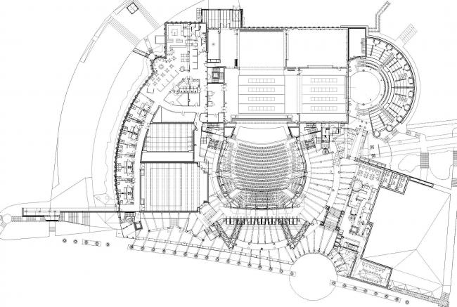 Опера и филармония Подляска. Европейский центр искусства в Белостоке. План первого уровня © Budzynski & Badowski