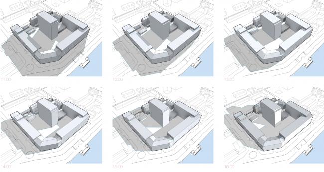 Многофункциональный жилой комплекс в Екатеринбурге. Схема инсоляции. Проект, 2016 © T+T Architects