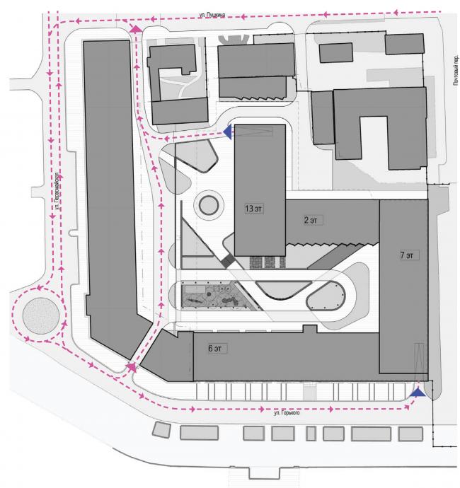Многофункциональный жилой комплекс в Екатеринбурге. Схема движения автомобильного транспорта. Проект, 2016 © T+T Architects