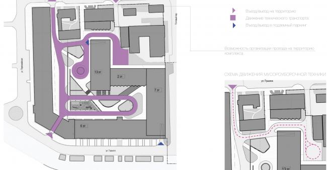 Многофункциональный жилой комплекс в Екатеринбурге. Схема движения специального транспорта. Проект, 2016 © T+T Architects