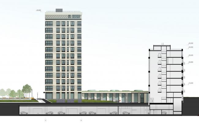 Многофункциональный жилой комплекс в Екатеринбурге. Фасад. Проект, 2016 © T+T Architects