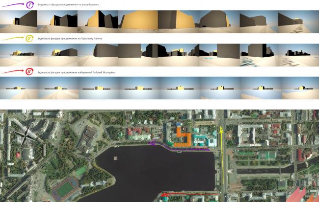 Многофункциональный жилой комплекс в Екатеринбурге. Анализ видимости фасадов. Проект, 2016 © T+T Architects
