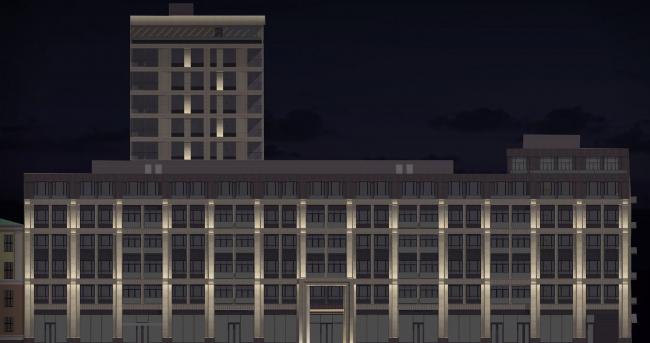 Многофункциональный жилой комплекс в Екатеринбурге. Схема освещения. Проект, 2016 © T+T Architects