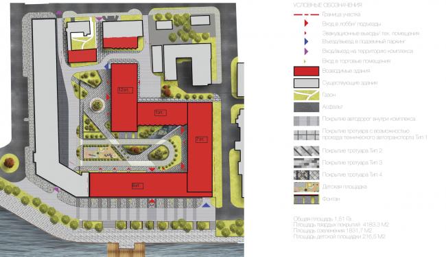 Многофункциональный жилой комплекс в Екатеринбурге. Схема благоустройства территории. Проект, 2016 © T+T Architects