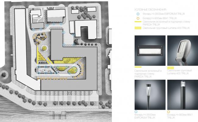 Многофункциональный жилой комплекс в Екатеринбурге. Расстановка осветительных приборов. Проект, 2016 © T+T Architects