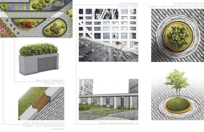 Многофункциональный жилой комплекс в Екатеринбурге. Малые архитектурные формы. Проект, 2016 © T+T Architects
