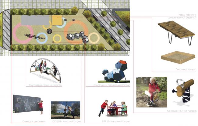 Многофункциональный жилой комплекс в Екатеринбурге. Детская площадка. Проект, 2016 © T+T Architects