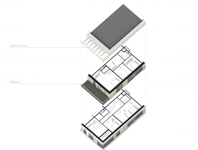 Многофункциональный жилой комплекс в Екатеринбурге. Схема двухуровневой квартиры с террасой. Проект, 2016 © T+T Architects