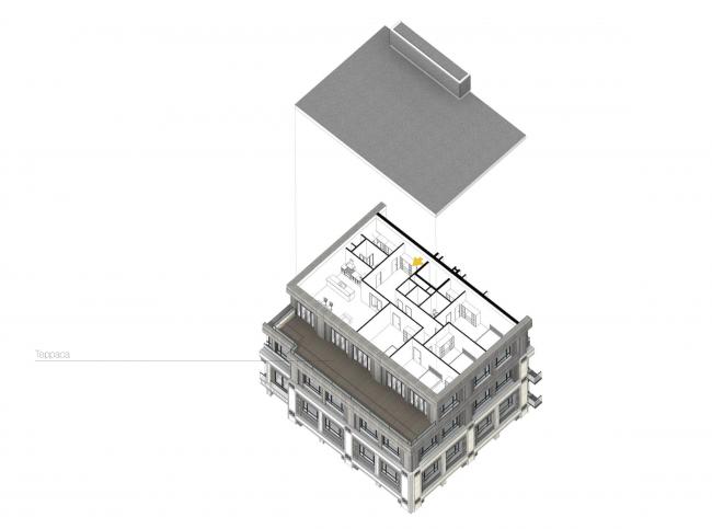 Многофункциональный жилой комплекс в Екатеринбурге. Схема квартиры с террасой. Проект, 2016 © T+T Architects