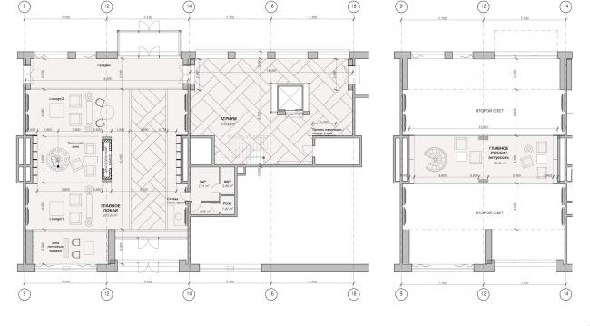 Многофункциональный жилой комплекс в Екатеринбурге. План лобби. Проект, 2016 © T+T Architects