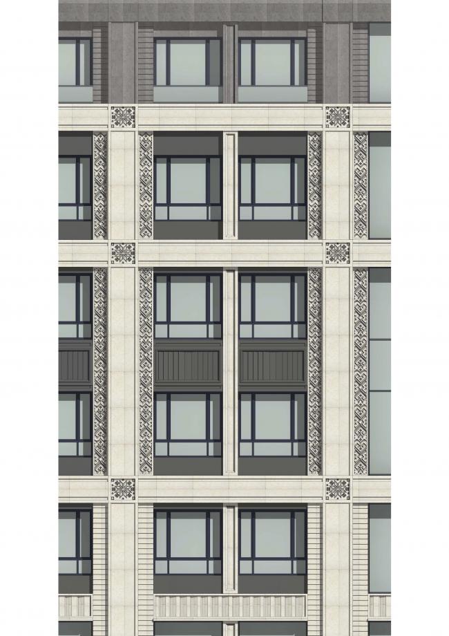 Многофункциональный жилой комплекс в Екатеринбурге. Фрагмент фасада корпуса А. Проект, 2016 © T+T Architects