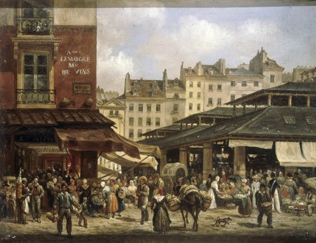 «Ле-Аль и улица Тоннельри». Художник Джузеппе Канелла. 1827 г.