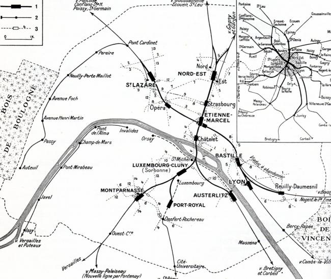 Схема регионального метро RER. Первоначальный проект 1-й пол. 1960-х гг. предполагал соединение 5 тупиковых вокзалов и создание крупного пересадочного узла в районе Ле-Аль. При осуществлении в 1970-е гг. планы были несколько скорректированы: вокзалы Монпарнас и Восточный остались вне сети RER.