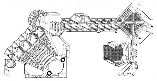 «Новый Форум Ле-Аль». Арх. П. Шеметов. 1979-1986 гг. Аксонометрическая схема.