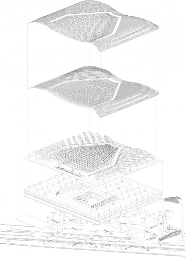 Реконструированный «Форум Ле-Аль». Арх. П. Берже, Ж. Анзьютти. 2007-2016 гг. Взрыв-схема © Agence Patrick Berger et Jacques Anziutti Architectes