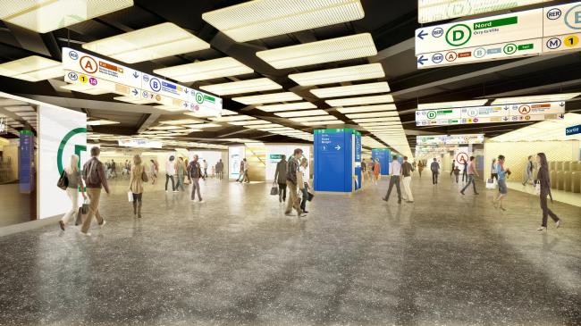 Проект реконструкции станции RER. Арх. П. Берже, Ж. Анзьютти совместно с проектным отделом RATP. Изображение © Agence P. Berger et J. Anzitti / L'Autre Image