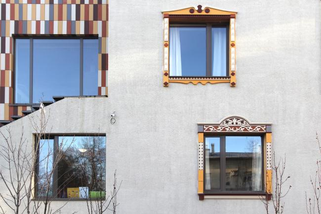Nursery school in the Maly Poluyaroslavsky Alley. Window surrounds. Construction, 2016 © Asadov Bureau