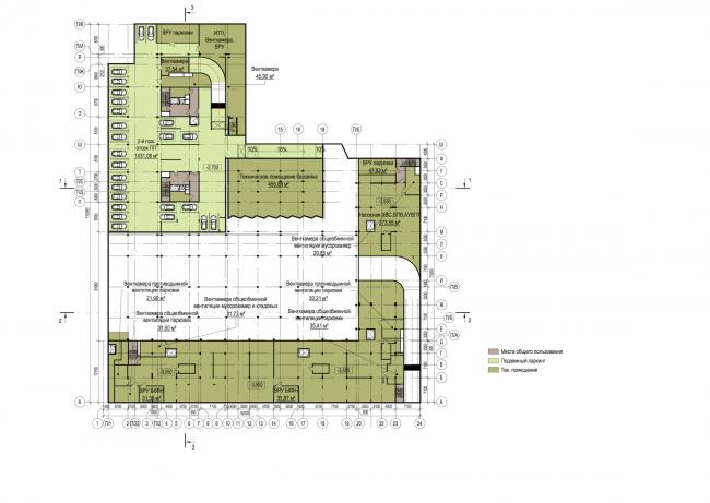 Многофункциональный жилой комплекс в Екатеринбурге. План -1 этажа. Проект, 2016 © T+T Architects