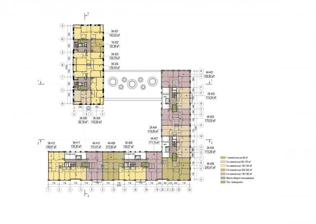 Многофункциональный жилой комплекс в Екатеринбурге. План типового этажа (2-6). Проект, 2016 © T+T Architects