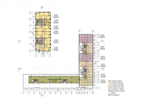 Многофункциональный жилой комплекс в Екатеринбурге. План 7 этажа. Проект, 2016 © T+T Architects