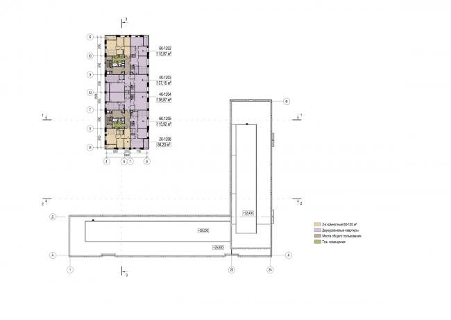 Многофункциональный жилой комплекс в Екатеринбурге. План 12 этажа. Проект, 2016 © T+T Architects