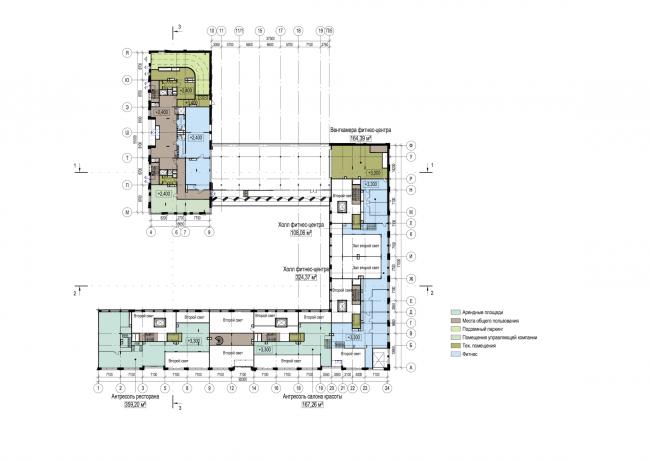 Многофункциональный жилой комплекс в Екатеринбурге. План антресоли 1 этажа. Проект, 2016 © T+T Architects