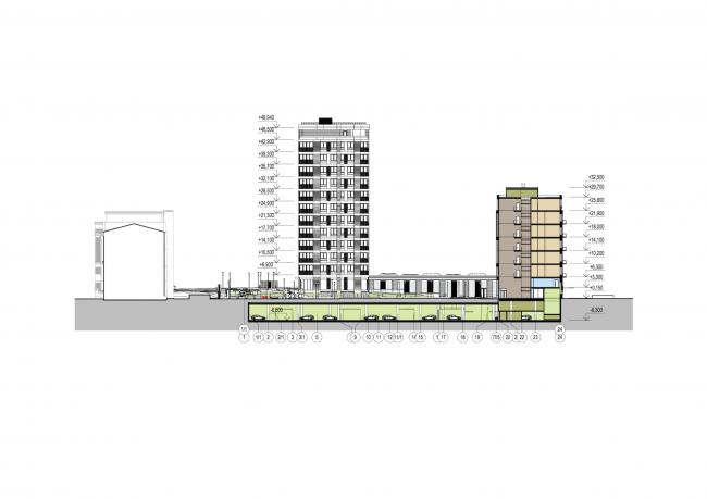 Многофункциональный жилой комплекс в Екатеринбурге. Разрез. Проект, 2016 © T+T Architects