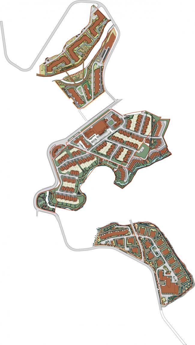 Спортивно-жилой комплекс «Олимпийская деревня Новогорск». Генеральный план. Реализация, 2013 © Архитектуриум