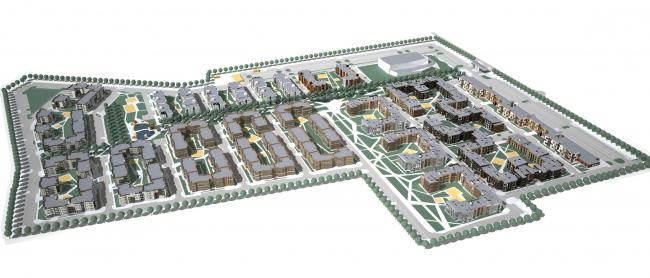 Малоэтажная жилая застройка в Дмитровском. Генеральный план, 2013 © Архитектуриум