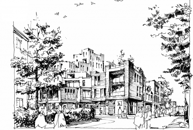Concept of the residential development in Moscow. View from the school. Sketch. Project, 2016 © Sergey Estrin Architects