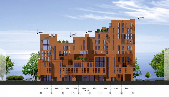 Концепция жилой застройки в Москве. Северо-западный фасад. Проект, 2016 © Архитектурная мастерская Сергея Эстрина