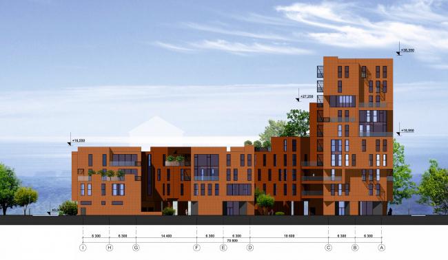 Концепция жилой застройки в Москве. Юго-западный фасад. Проект, 2016 © Архитектурная мастерская Сергея Эстрина