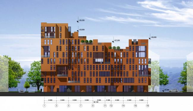 Концепция жилой застройки в Москве. Юго-восточный фасад. Проект, 2016 © Архитектурная мастерская Сергея Эстрина