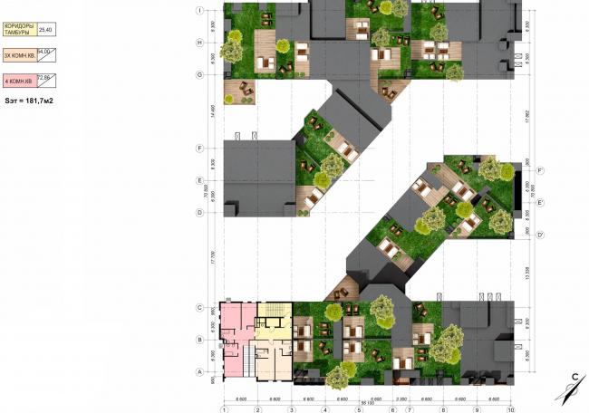 Концепция жилой застройки в Москве. План 10 этажа. Проект, 2016 © Архитектурная мастерская Сергея Эстрина