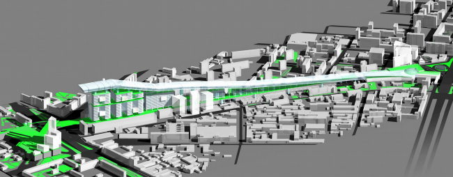 Концепция перекрытия железной дороги на участке от Белорусского до Савеловского вокзала, г. Москва © Архитектурное бюро Асадова