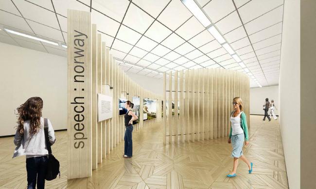 Проект экспозиции speech: norway. Дизайн экспозиции: Сергей Чобан, Андрей Перлич