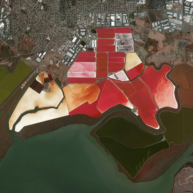 Соляные пруды в заливе Сан-Франциско, США. Daily Overview | Satellite images © 2016, DigitalGlobe, Inc.