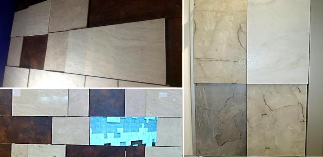 Возможности комбинирования облицовочных материалов (HPL-панели и керамогранит), различных форматов, цветов и фактур. Из презентации компании «Юкон Инжиниринг»