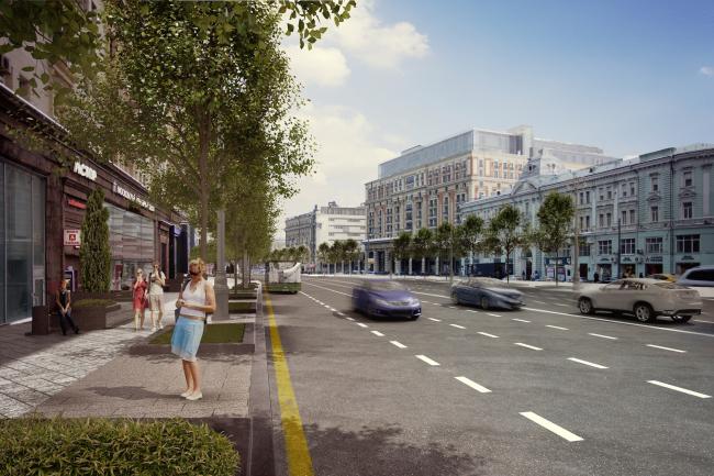 Программа улучшения улицы Тверская. Линейный участок улицы. Конкурсный проект, 2016 © КБ «Стрелка»