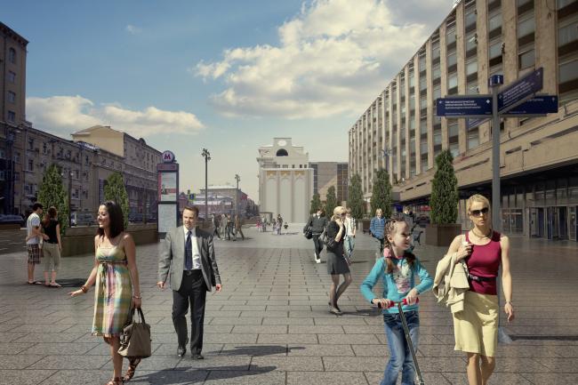 Программа улучшения улицы Тверская. Площадь перед метро Пушкинская. Конкурсный проект, 2016 © КБ «Стрелка»