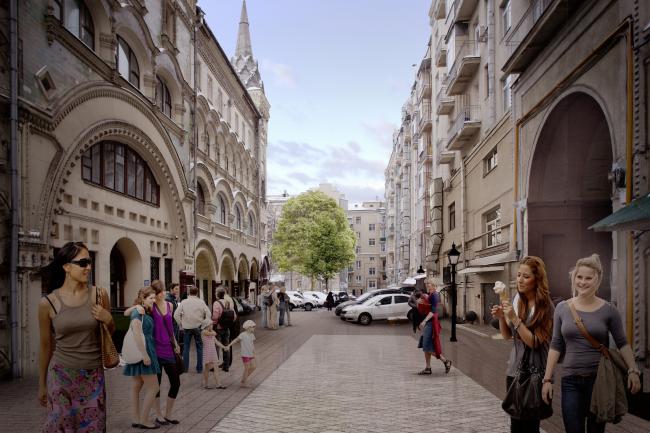 Программа улучшения улицы Тверская. Саввинское подворье. Конкурсный проект, 2016 © КБ «Стрелка»