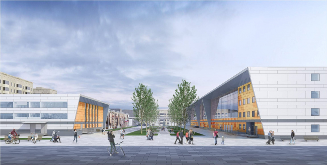 Спортивный комплекс имени Э.А. Стрельцова. Вид на парковую аллею. Проектировщик ПИ «Арена»