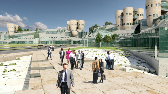 Конкурсный проект IT Технопарка «Сбербанка» © Eric Owen Moss Architects